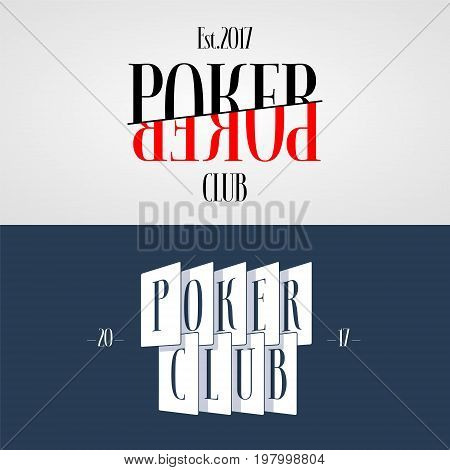 Set of casino poker vector logo emblem. Template design element with cards and sign Poker Club in red and black colors