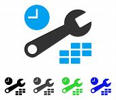 Date And Time Configuration flat vector pictogram. Colored date and time configuration gray, black, blue, green icon versions. Flat icon style for application design. poster