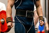 man body weightlifter belt for lifting and wrist wraps powerlifting poster