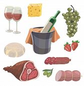 foodstuffs. set of colored vector icons on a white background poster