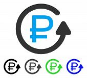 Rouble Chargeback flat vector pictogram. Colored rouble chargeback gray, black, blue, green icon variants. Flat icon style for application design. poster