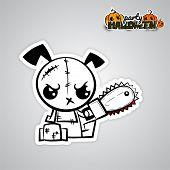 Halloween evil dog blood saw cartoon funny monster. Pop art wow comic book text poster party. Ugly angry monochrome thread needle sewing voodoo doll. Vector illustration sticker paper. poster