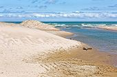 Indiana Dunes National Lakeshore is a National Park on Lake Michigan's south shore. The sand dunes make this beach a popular tourist attraction in Indiana USA. poster