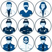 Avatar of people of emergency services. Flat icons with silhouettes of fireman, rescuer, doctor, surgeon, police officer, sheriff. Man and woman isolated on white. Vector illustration. poster