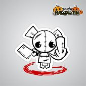 Halloween evil bear funny monster knife finger fuck. Pop art wow comic book text poster party. Ugly angry monochrome thread needle sewing voodoo doll. Vector illustration sticker paper. poster