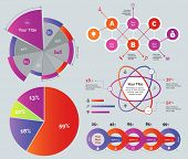 Percentage and option diagram set. Can be used for statistics, workflow layout, annual report. Business concept. Percentage pie charts Flowchart Percentage atom chart Four option graph poster