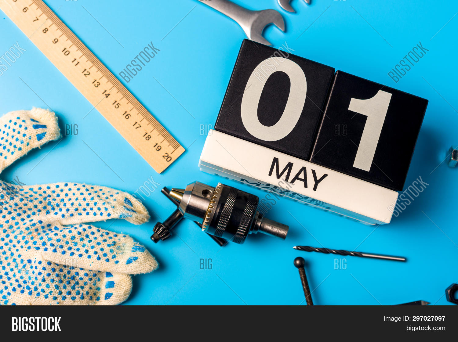 May 1st. Day 1 Of May Month, Calendar On Blue Background With Tools. Labor Day