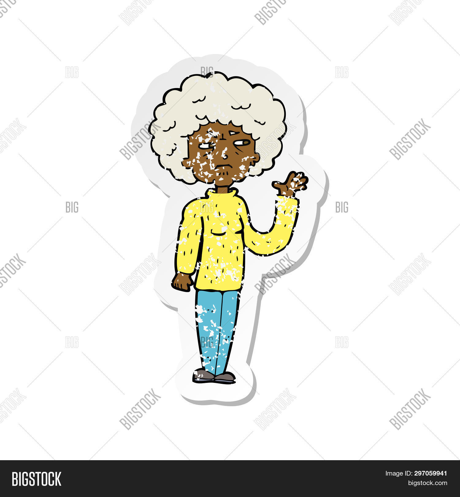 retro distressed sticker of a cartoon annoyed old woman waving