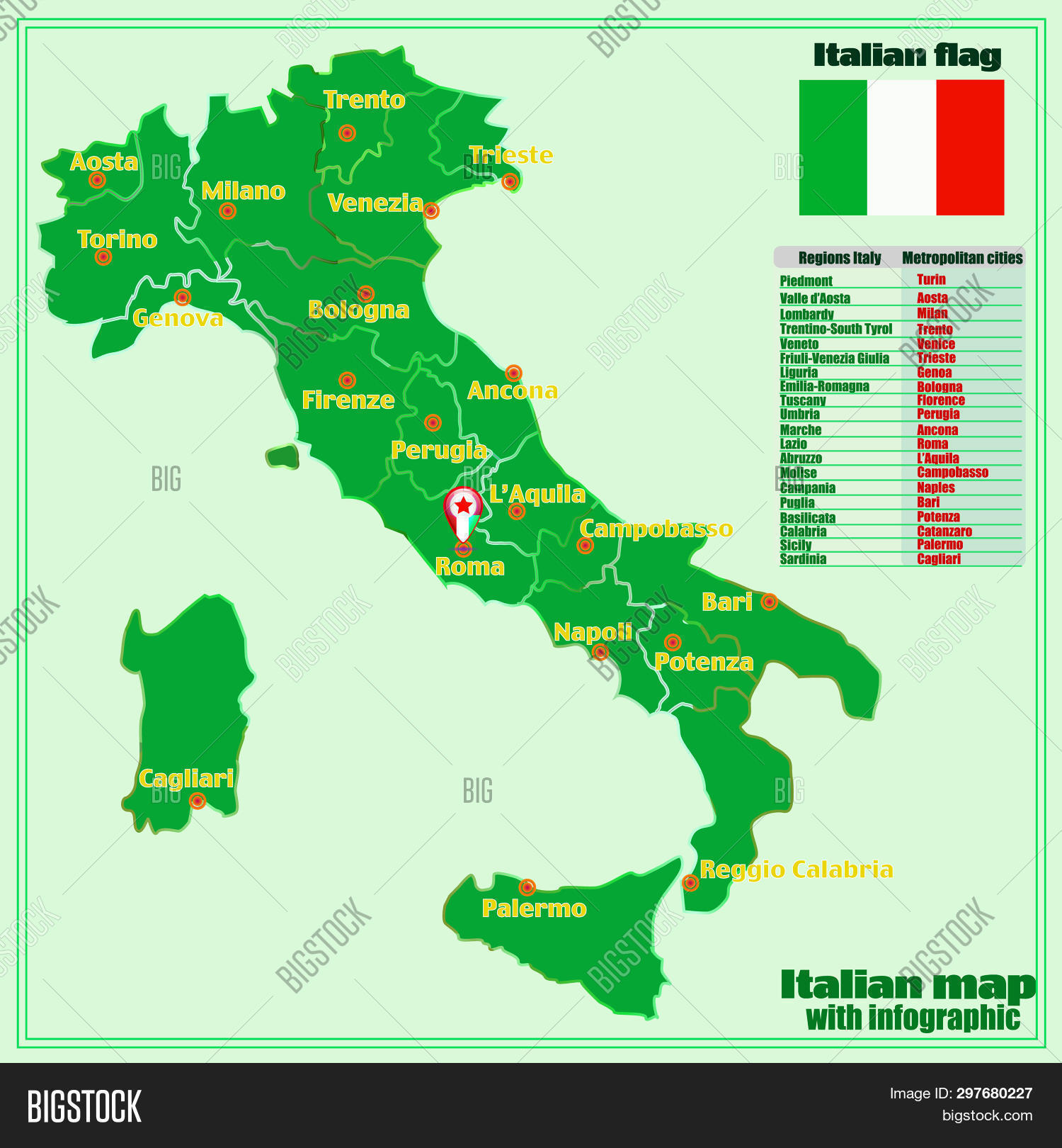 Map Of Italy In Italian.Map Italy Infographic Image Photo Free Trial Bigstock