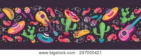 Cinco De Mayo Objects Horizontal Stripe Composition. Mexican Culture Symbols Collection. Guitar, Som