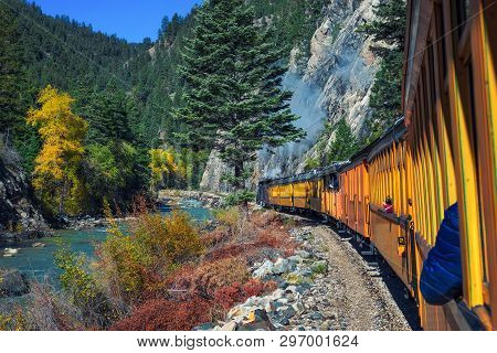 Historic Steam Engine Train Travels From Durango To Silverton Through The San Juan Mountains Along T