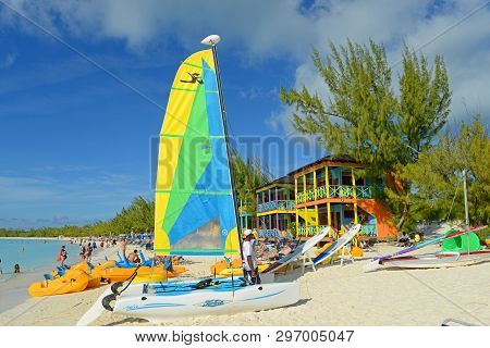 Bahamas - Dec 27, 2014: Half Moon Cay, Little San Salvador Island, The Bahamas. Half Moon Cay Is A P