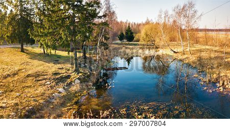 Panorama Of Lake In Forest At Morning Time.