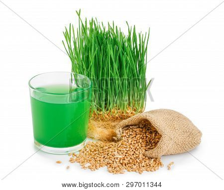 Wheatgrass Juice With Sprouted Wheat Isolated On White Background
