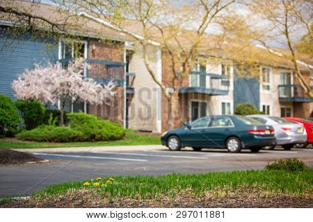 Beautiful Blurred Village Homes In Spring Time
