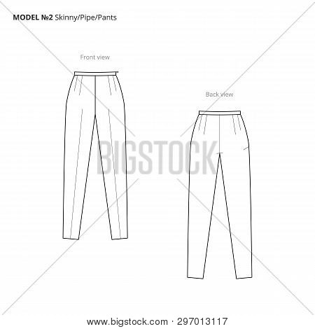 Fashion Technical Drawing Of The Women Pants. Vector Technical Drawing For Fashion. Vector Fashion F