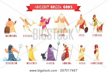 Ancient Greek Gods 2 Horizontal Cartoon Figures Sets With Dionysus Zeus Poseidon Aphrodite Apollo At