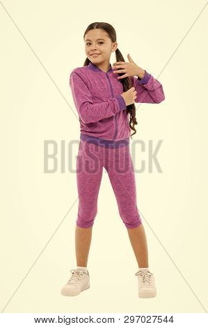 poster of Guidance on working out with long hair. Deal with long hair while exercising. Working out with long hair. Girl cute kid with long ponytails wear sportive costume isolated on white. Sport for girls.
