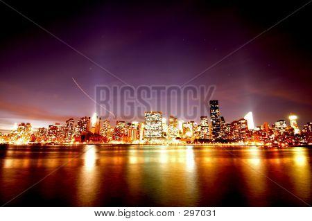 manhattan night skyline, new york city poster