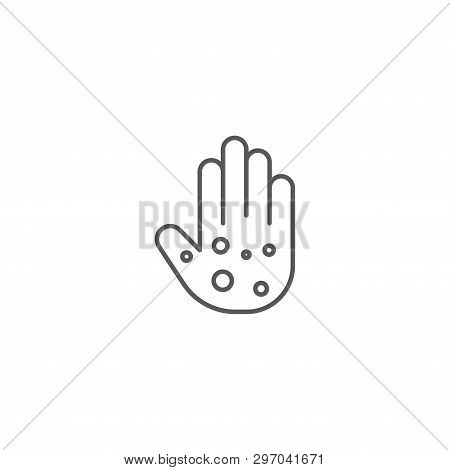 Eczema Hand Skin Line Icon. Linear Style Sign For Mobile Concept And Web Design. Rash Hand, Allergic