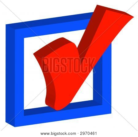 3d blue box with red check mark or tick poster