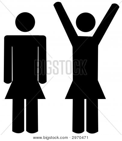Stick Women Arms At Sides N Arms Up