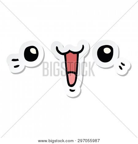 sticker of a happy cartoon face
