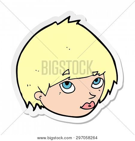 sticker of a cartoon female face looking up