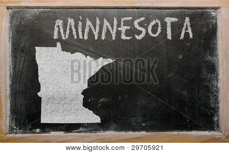 Outline Map Of Us State Of Minnesota On Blackboard
