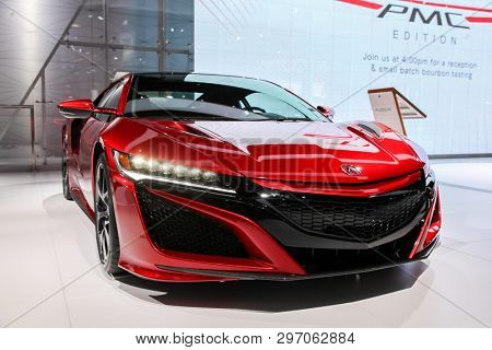 NEW YORK, NY, USA - APRIL 17, 2019: Acura NSX shown at the New York International Auto Show 2019, at the Jacob Javits Center. This was Press Preview Day One of NYIAS