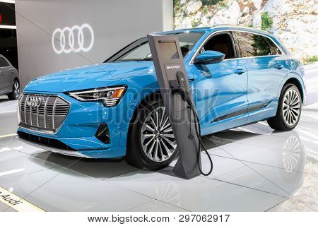 NEW YORK, NY, USA - APRIL 17, 2019: Audi E-Tron first fully electric production mode at the New York International Auto Show 2019, at the Jacob Javits Center. This was Press Preview Day One of NYIAS