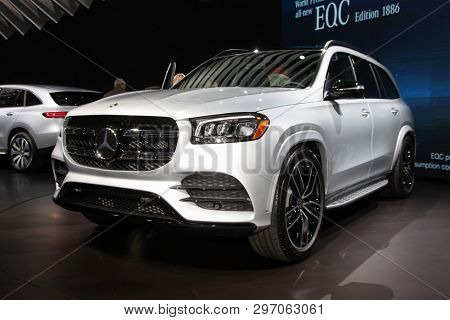 NEW YORK, NY, USA - APRIL 17, 2019: Mercedes-Benz GLS 580 at the New York International Auto Show 2019, at the Jacob Javits Center. This was Press Preview Day One of NYIAS