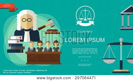 Flat Judicial System Template With Jury Trial Gavel Law Books Judge Courthouse Scales Of Justice On