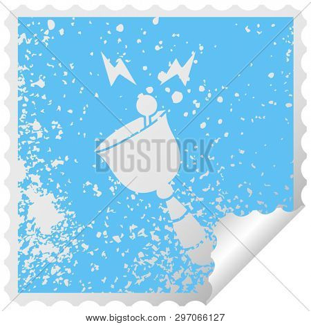 distressed square peeling sticker symbol of a ringing hand bell