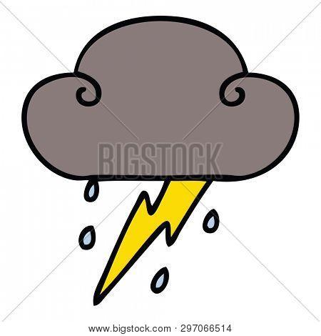 hand drawn quirky cartoon thunder cloud