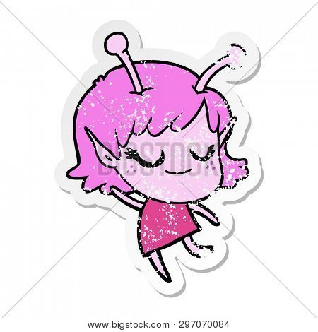 distressed sticker of a smiling alien girl cartoon