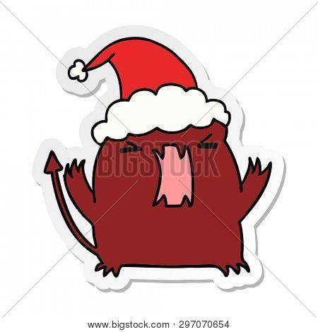 hand drawn christmas sticker cartoon of kawaii devil