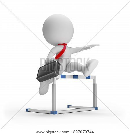 3d Businessman With A Briefcase Overcomes An Obstacle. 3d Image. White Background.