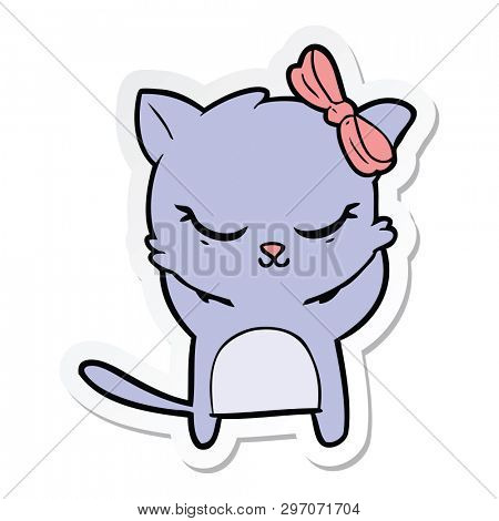 sticker of a cute cartoon cat with bow