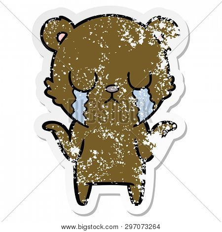distressed sticker of a crying cartoon bear