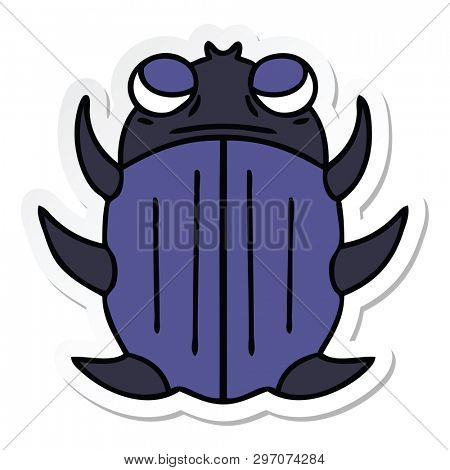 sticker of a quirky hand drawn cartoon beetle