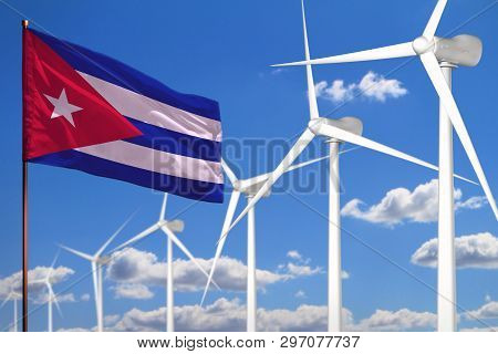 Cuba Alternative Energy, Wind Energy Industrial Concept With Windmills And Flag - Alternative Renewa