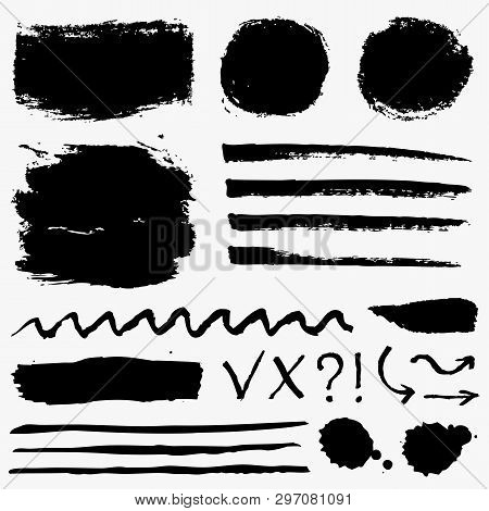 Paint Brush Strokes, Grunge Stains And Symbols Isolated On White Background. Black Vector Design Ele