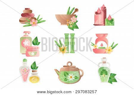 Spa Treatment Symbols Set, Basalt Stones, Aromatic Oils, Lotions, Candles Vector Illustrations On A