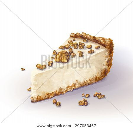 Vector Piece Of Cheesecake Cake With Airy And Tender, Delicate Creamy-curd Cheese. Crisp And Crumble