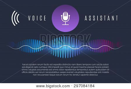 Soundwaves Recognition Assistant. Speech Technology Intelligence Personal Help, Sound Device Control