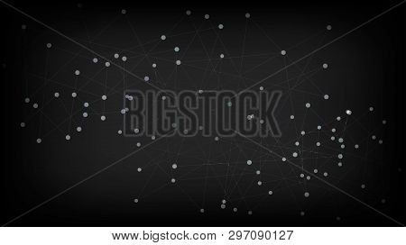 Interconnected Artificial Intelligence Network Nodes Vector Background. Social Media Grid Big Data D