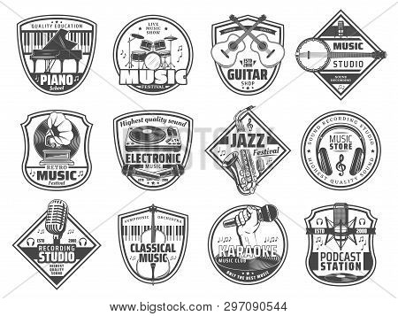 Sound Recording Studio Label, Music Instruments Store And Karaoke Club Icons. Vector Radio Station O