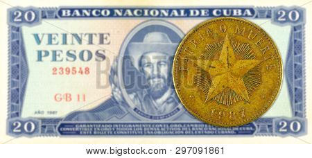 1 Cuban Peso Coin Against 20 Cuban Peso Banknote