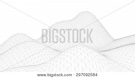 Abstract Terrain Wireframe Landscape Background, Opographic, Landscape, Topography, Land, Mountain,